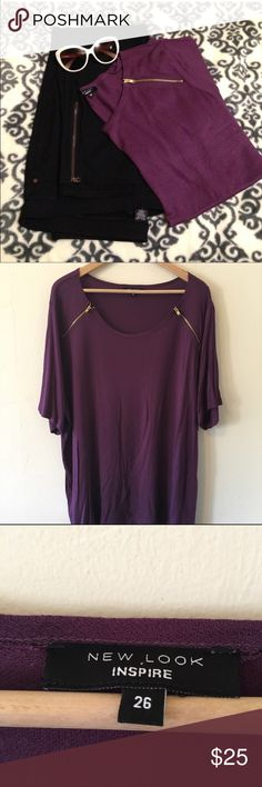 Plus size Zipper Details Purple Blouse 22/3x Super cute too that really dresses up a pair of jeans. Never worn just been hanging in my closet begging for a day out! No trades no PayPal uk 26 = us 22/3x ASOS Tops Blouses