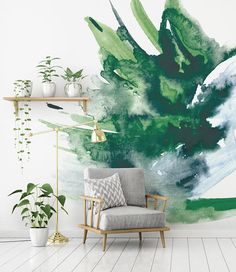 This creative looking watercolour wall mural will make a beautiful addition to your home of office. Planning a special event? You can use our wall murals as decor for events such as birthdays, weddings and photo booth backdrops. *SIZE* (Width x Height) 69 w x 96 h You will receive x3 panels which will join together to make up the wall mural. *MATERIALS* SELF ADHESIVE FABRIC: Removable & Re-positionable! This is not a vinyl material... this is so much better! - Our fabric wall covering...