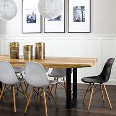 LIve Edge Dining Table with Eames Molded Plastic Dining Chairs - Modern - Dining Room Eames Dining Chair, Woven Dining Chairs, Plastic Dining Chairs, Mismatched Dining Chairs, White Dining Chairs, Living Room Chairs, Table And Chairs, Accent Chairs, Dining Area