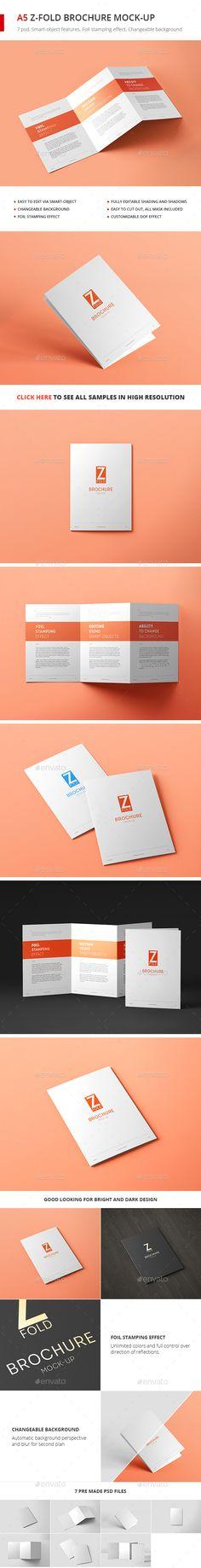 Tri-Fold Brochure A5 Mock-up vol. 2 - #Brochures Print Download here: https://graphicriver.net/item/trifold-brochure-a5-mockup-vol-2/20164517?ref=alena994