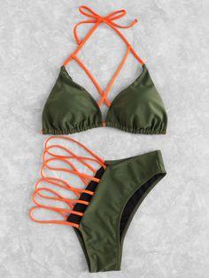 Shop Criss Cross Ladder Cut Out Bikini Set online. SheIn offers Criss Cross Ladder Cut Out Bikini Set & more to fit your fashionable ne… Bikini Sets, Bikini Babes, Vs Bikini, Bikini Swimwear, Cute Bikinis, Cute Swimsuits, Mode Du Bikini, Girl Fashion Style, Woman Fashion