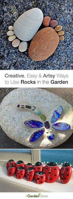 """Got Stones? Creative, Easy and Artsy Ways to Use Rocks in the Garden! • Tips, ideas & Tutorials! [ """"Welcome garden gnomes are the modernized edition of the typical traditional garden gnomes. Feel a warm appeal every time you pass through your garden or yard."""", """"Use these creative and unique stone art ideas for your home decor and garden."""", """"Got Stones? Creative, Easy and Artsy Ways to Use Rocks in the Garden! ??? Tips, ideas"""", """"A squatting garden gnome is also depicted to perform diff..."""