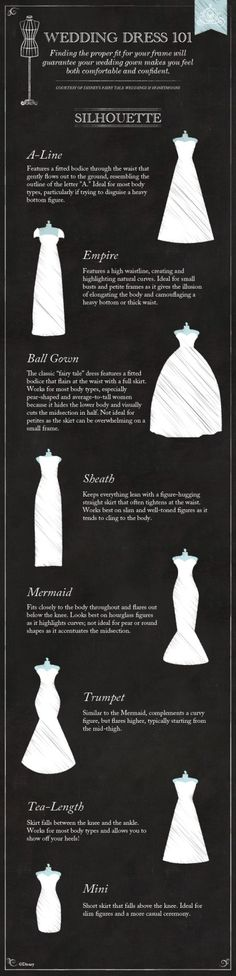 Wedding Dress 101: The Silhouette #Disney #wedding #dress