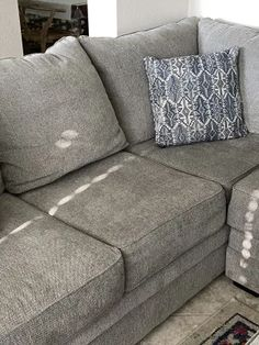 Broyhill Naples Living Room Sectional | Big Lots Grey Sectional Sofa, Living Room Sectional, Sofa Dimension, Cushion Filling, Wood Dust, Naples, Accent Pillows, Seat Cushions, Fabric Design