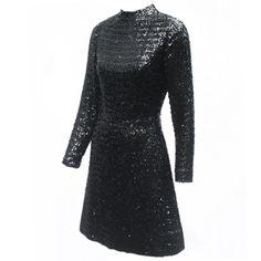 Vintage and Designer Evening Dresses and Gowns - For Sale at 1960s Fashion, Vintage Fashion, Vintage Dresses, Vintage Outfits, Vintage Clothing Online, Designer Evening Dresses, Black Sequins, Chic, High Neck Dress