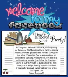 Great idea!! Book your facebook party today!! Www.pamperedchef.biz/LindaLauas for more info