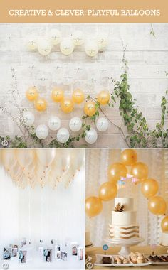 Yellow, white, and gold wedding balloons ideas  #balloons #weddingdecorations