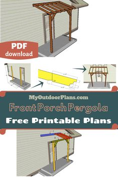 This step by step diy project is about front porch pergola plans. I had many requests for designing a super simple angled roof pergola that will go perfectly over a front entrance. Front Porch Pergola, Pergola Attached To House, Metal Pergola, Pergola With Roof, Pergola Shade, Patio Roof, Diy Pergola, Diy Patio, Pergola Ideas