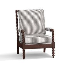 Loralie Upholstered Armchair, Polyester Wrapped Cushions, Vintage Stripe Black/Ivory