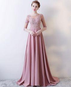 Pink lace prom dress, long sleeve prom dress #prom #dress #promdress #weddingdress
