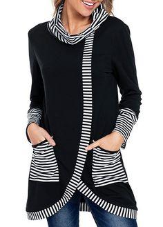 bdaee69f8cb9 Pocket Cowl Neck Stripe Print Black Sweatshirt Printed Sweatshirts, Sweater  Hoodie, Plaid, Ootd