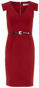 Red v neck dart detail dress on shopstyle.com