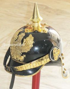 WWI GERMAN PRUSSIAN PICKELHAUBE HELMET BRASS ACCENTS IMPERIAL OFFICER SPIKE HELM