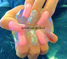 Easy glitter nail art design ideas   acrylic nails   long nails   for summer