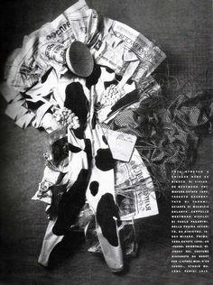 ALFA CASTALDI  Vivienne Westwood cow-jumpsuit and hat, display by Paolo Paganini, Vogue Italia, January 1990