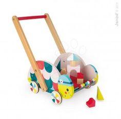 Drevený vozík Korytnačka Janod s počítadlom a 12 kockam