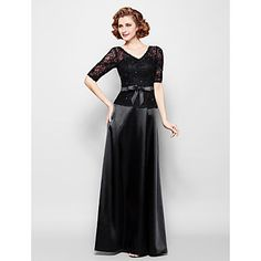 Sheath/Column+Plus+Size+/+Petite+Mother+of+the+Bride+Dress+-+Floor-length+Half+Sleeve+Lace+/+Stretch+Satin+–+USD+$+119.99