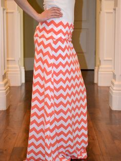 Coral and White Chevron Maxi Skirt  by satinstitchdesigns on Etsy, $50.00