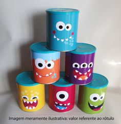Rótulo Monstrinhos - Ref. ZA 00710 - Zamiar Tin Can Crafts, Easy Crafts For Kids, Diy For Kids, Diy And Crafts, Paper Crafts, Monster 1st Birthdays, Monster Birthday Parties, Monster Theme Classroom, Little Monster Party