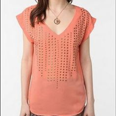 Lucca Couture coral studded top Coral shirt with stud pattern, size small. Worn only a few times. Perfect condition. Silky fabric, great for going out. Lucca Couture Tops Blouses