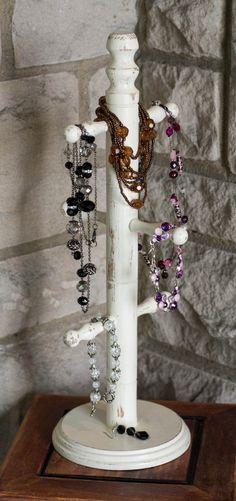 Antique White Jewelry Stand by jaxscorner on Etsy, $22.95