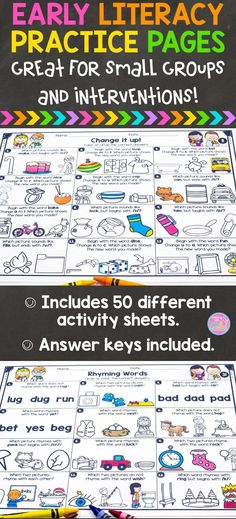Activity sheets to help students learn and practice tons of early literacy skills. Perfect for test prep!