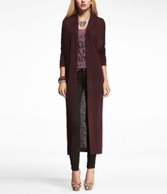 LONG SLEEVE DUSTER at Express. I have this strange obsession for dusters. I think this length and color would rock with a maxi skirt and BRIGHT pink top.