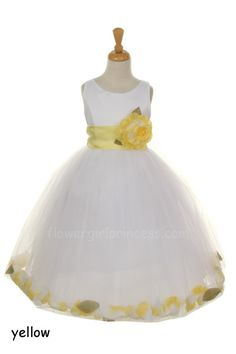 Flower Girl Dresses - Would be cute with Coral sash and burlap rose!  I like the loose petals in the skirt!