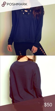Lace up top Navy blue lace up crewneck top! Super cute for the fall/winter months! Tops Sweatshirts & Hoodies
