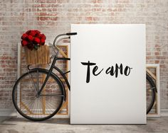 Love poste Love print Te amo I love you quote by BlueBookDesign