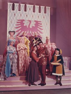 Cinderella, written by Richard Rodgers and Oscar Hammerstein II for CBS in 1957, was revised and produced again in 1965. The cast included (from the back row forward): Jo Van Fleet, Ginger Rogers, Walter Pidgeon, Celeste Holm, Pat Carroll, Barbara Ruick, Lesley Ann Warren and Stuart Damon.  The elderly fellow on the right gets no credit. (Press photo, Tom Buckley collection)