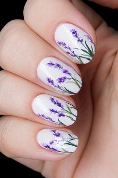 30 Perfect Bridal Nails Art Designs ❤ bridal nails on white background lilac flowers chalkboard nails ❤ See more: http://www.weddingforward.com/bridal-nails/ #weddingforward #wedding #bride #weddingnails #bridalnails