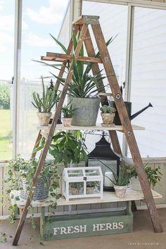 42 ideas diy wood ladder shelf porches for 2019 Old Wood Ladder, Antique Ladder, Vintage Ladder, Diy Ladder, Garden Ladder, Wooden Ladder Decor, Wooden Ladders, Ladder Shelves, Wall Shelves