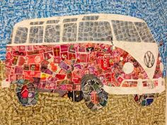 VW bus made out of postage stamps
