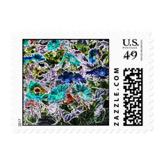 Asters Flowers with Neon Outlines Abstract Art Postage - flowers floral flower design unique style