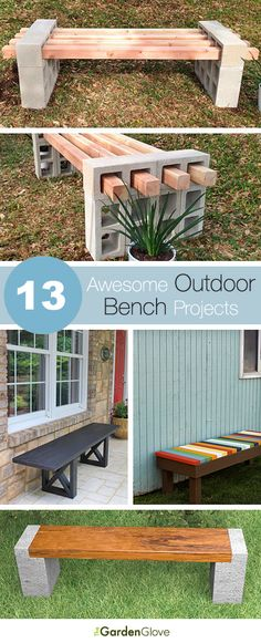 diy outdoor projects Make these awesome outdoor bench projects for your backyard, porch or deck! Celebrate your garden in style with a DIY bench! Backyard Projects, Outdoor Projects, Garden Projects, Diy Projects, Project Ideas, House Projects, Design Projects, Pallet Projects, Design Tutorials