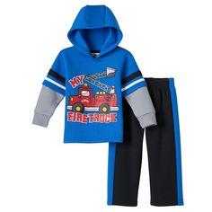 Baby Boy Boyzwear Firetruck Fleece Hoodie & Pants Set, Size: 24 Months, Blue