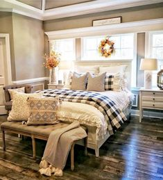 Recommended Farmhouse Master Bedroom Decor And Design Ideas – Best Home Decorating Ideas Farmhouse Master Bedroom, Cozy Bedroom, Dream Bedroom, Home Decor Bedroom, Bedroom Ideas, Farm Bedroom, Modern Bedroom, Trendy Bedroom, Bedroom Designs