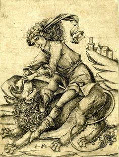 "Print made by Israhel van Meckenem 1470-1480.(Hercules / Samson / Lion) Is this the base archetype image for the ""Strength"" Tarot card, which usually depicts a woman holding the lion's jaw open?"