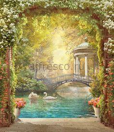 Бесшовная фреска с пейзажем