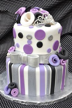 Purple,silver,black and white cake