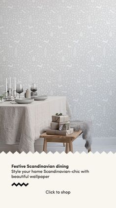 Forget about the old-fashioned green and red colour palette this festive season and instead opt for simple, stylish decor inspired by the Scandinavian interior design ethos. We have created a collecti Scandi Wallpaper, Scandinavian Wallpaper, Dining Room Wallpaper, Scandinavian Folk Art, Scandinavian Interior Design, Of Wallpaper, Scandinavian Christmas, Christmas Decor, Xmas