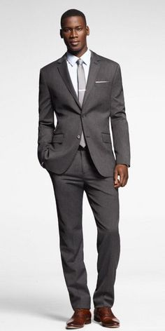 STRETCH WOOL PRODUCER SUIT from express - groomsmen gray suit