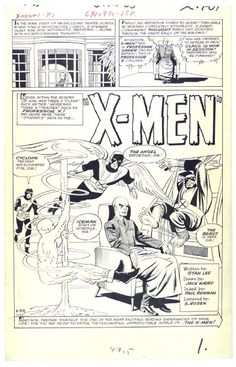 Stan Lee, Jack Kirby, Paul Reinman, Sam Rosen | X-Men #1, page 1, 1963. Original page, uncoloured. | #comics #marvel