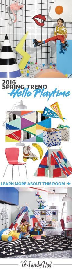 Bursting with abstract shapes and colors, our Hello Playtime collection is filled with unexpected patterns and icons, plus a touch of 80s nostalgia. The Land of Nod's newest collection is brimming with kids bedroom and playroom ideas. Adding pops of color is easy with storage, rugs and décor. Plus, don't forget lighting and furniture to round off the look. If a child's imagination could decorate, it would totally look like this room.
