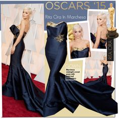 Academy Awards 2015 :Rita Ora In Marchesa by kusja on Polyvore featuring RedCarpet, Oscars, ritaora, oscars2015 and PVredcarpet