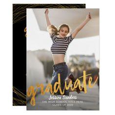 Black & Gold Typography Photo Graduation Party Card - graduation party invitations card cards cyo grad celebration