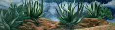 (C) Pedro Diego Alvarado - Magueyes Teotihuacanos, 2001, óleo sobre lino 65 x 244 cms