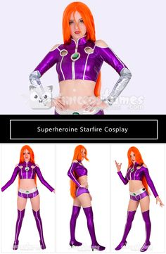 Buy Starfire costume for the coming cosplay events. Deluxe quality of Teen Titans Starfire cosplay costume including top, shorts, shoe covers and handguards. Starfire bodysuit for sale now and still in stock. Cosplay Ideas, Cosplay Costumes, Costume Ideas, Star Fire Cosplay, Starfire Costume, Teen Titans Cosplay, Teen Titans Starfire, Cosplay Events, Halloween Disfraces