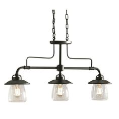 allen + roth 3-Light Mission Bronze Edison Style Island Light with Clear Shade - Above the Island! LOVE